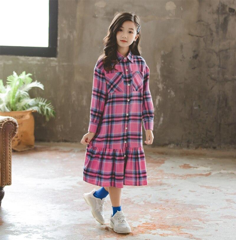 Novo 2019 outono menina vestido xadrez bebê princesa vestido crianças babados vestido da criança algodão roupas lazer crianças bonito vestido