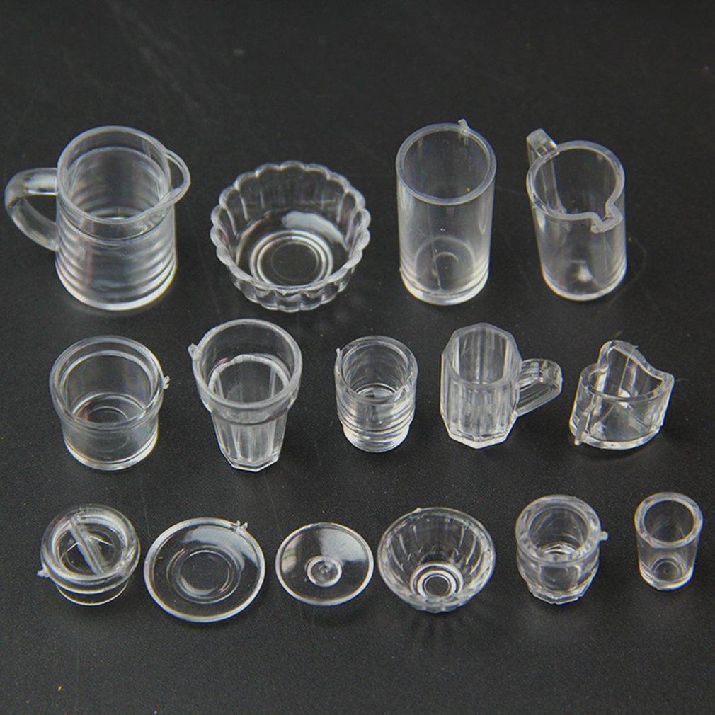 15PCS/SET Small Miniature Drink Ice Cream Cup Kitchenware Model Kids Transparent Plastic Pretend Play Toys