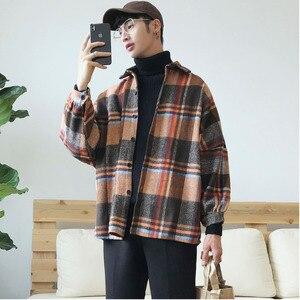 Image 1 - 2019 Frühling Und Herbst Neue Hong Stil Mode Casual Shirt Männer der Trend Lose Schulter Jacke Navy/Einfarbig S 2XL