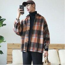Camisa informal de moda de estilo Hong para hombre, chaqueta de hombro holgada a la moda, Color azul marino/liso, S 2XL, primavera y otoño, 2019
