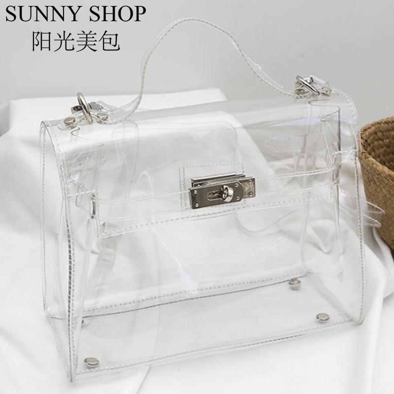 SUNNY SHOP Women Transparent Bag Jelly Handbag Designer Clear Bag PVC Fashion Crossbody Bag Luxury Transparent Handbag Casual