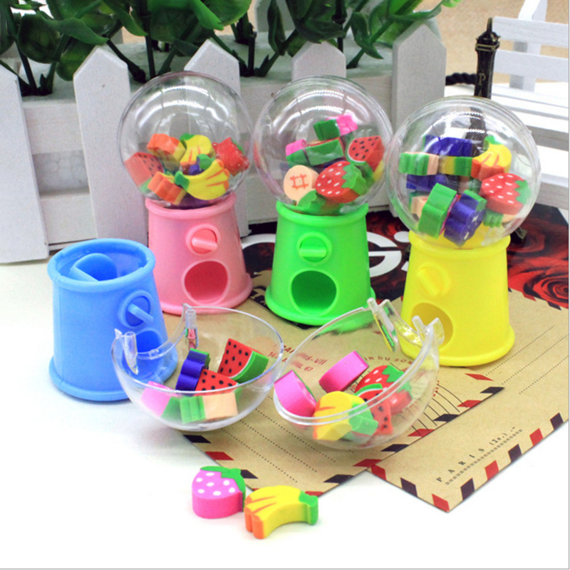 Creative Mini Fruit Gashapon Eraser Machine Bank Eraser Dispenser  Kids Stationery School Supplies Christmas Gift For Children