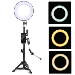 8 Inch Desktop LED Ring Light for YouTube Live Video Recording3 Modes Dimmable with Phone Holder Mini Ball Head Tripod Stand