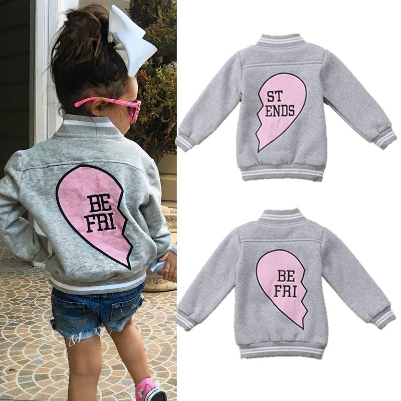 2019 Autumn Winter Kids Child Baby Boy Girl Jackets Windbreaker Warm Baseball Coats Letter Best Friend Tops Outerwear image