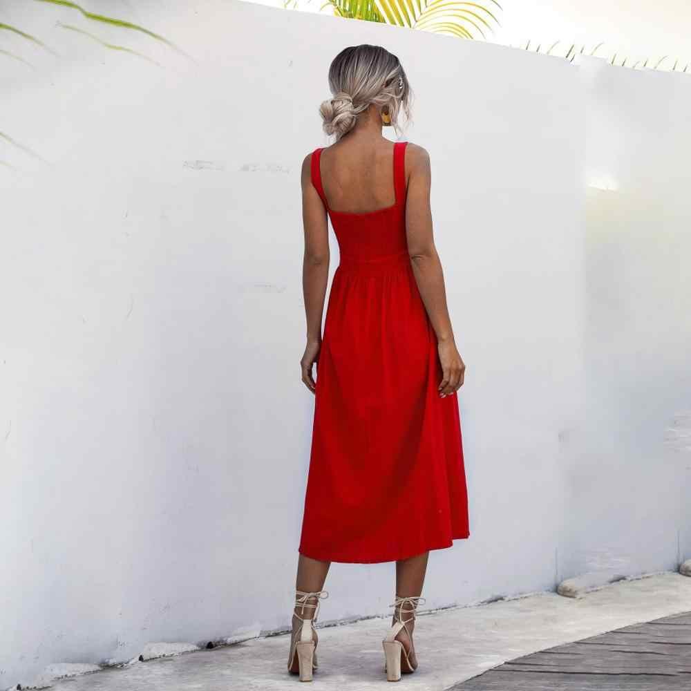 Wanita Gaun Panjang Musim Panas Seksi Backless Kasual Putih Hitam Ruched Slip Midi Sundresses 2020 Wanita Lipit Tali Spaghetti Pakaian