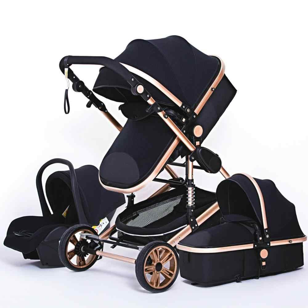 Luxurious Baby Stroller 3 in 1 Genuine Portable Baby Carriage Fold Pram  Aluminum Frame High Landscape Stroller for Newborn Baby|Four Wheels Stroller|  - AliExpress