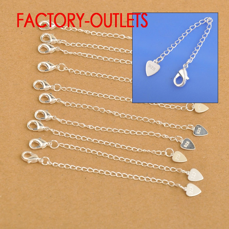 Wholesale Fashion Jewelry Findings 925 Sterling Silver Extension Chains With Heart Tag Lobster Clasps For Necklace Bracelets