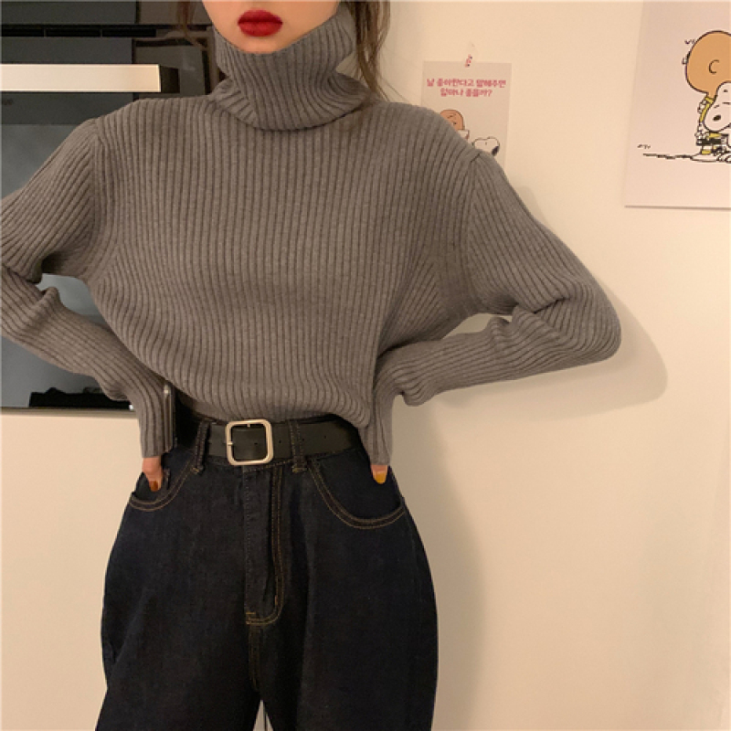 YAMDI Korean Solid Sweater Female Woman Slim Elastic Autumn Winter Jumper Turtleneck Collar Sweater Women Pulliver Office Lady