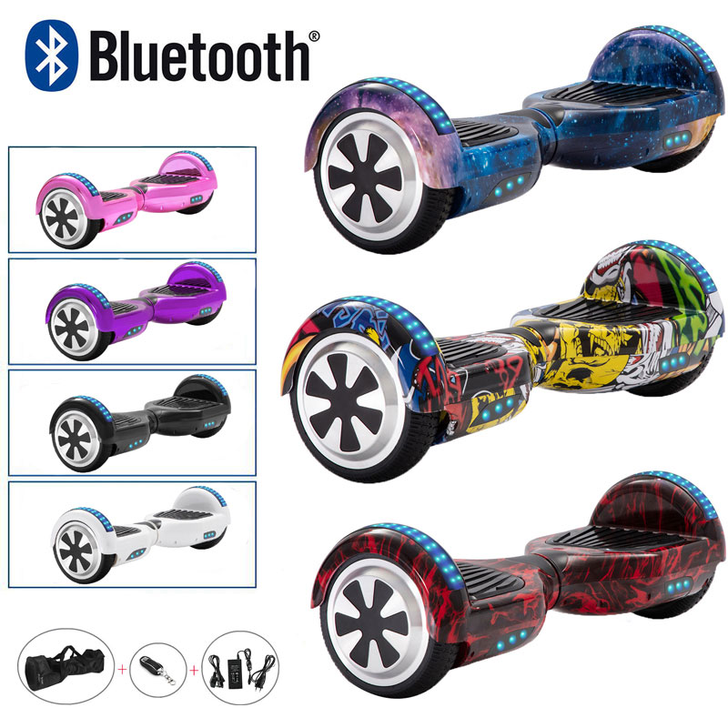 Electric Scooter 6.5 Inch Hoverboard Self Balance Board Two Wheels Skateboard For Kids 700W LED Bluetooth+Remote Key+Bag