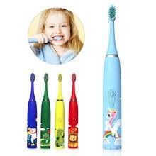 Diozo sonic escova de dentes elétrica das crianças dupont cerdas macias pequena cabeça escova inteligente thildren mordedor