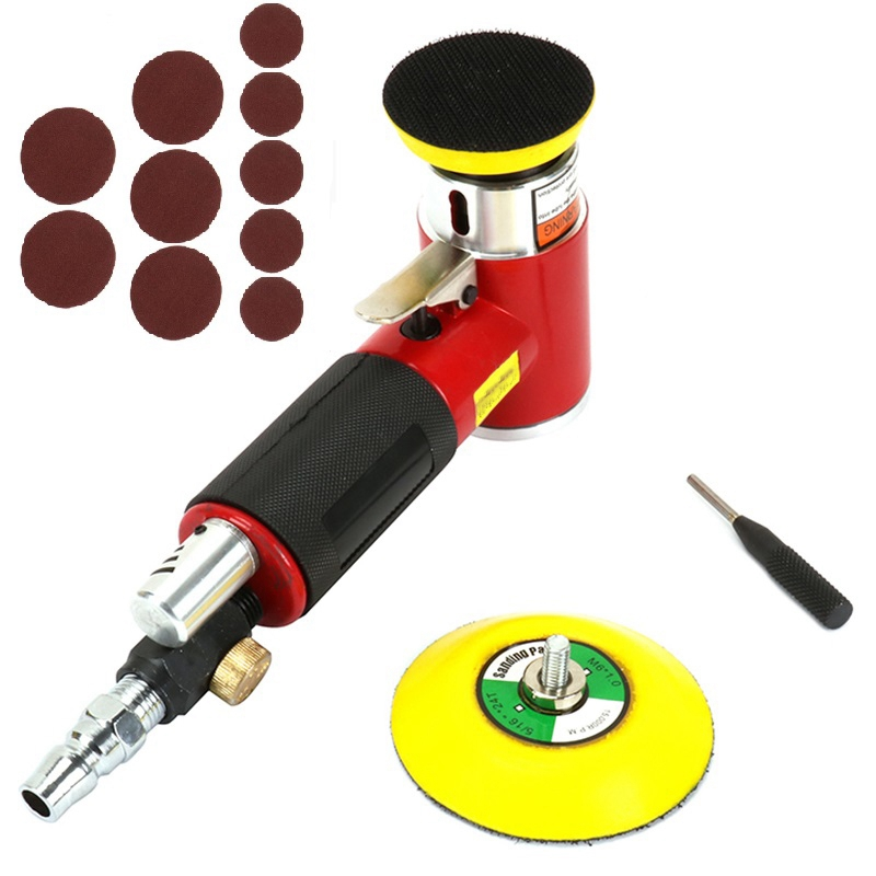 TOP 2 Inch 3 Inch Mini Air Sander Kit Pad Eccentric Orbital Dual Action Pneumatic Polisher Polishing Buffing Tools For Auto Body