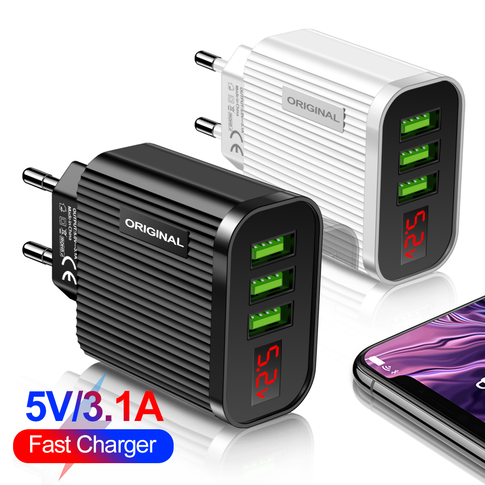 5V 3.1A Display USB Charger For iPhone Charger 3 Ports Fast Charging Wall Phone Charger For iPhone Samsung Xiaomi USB Adapter 1