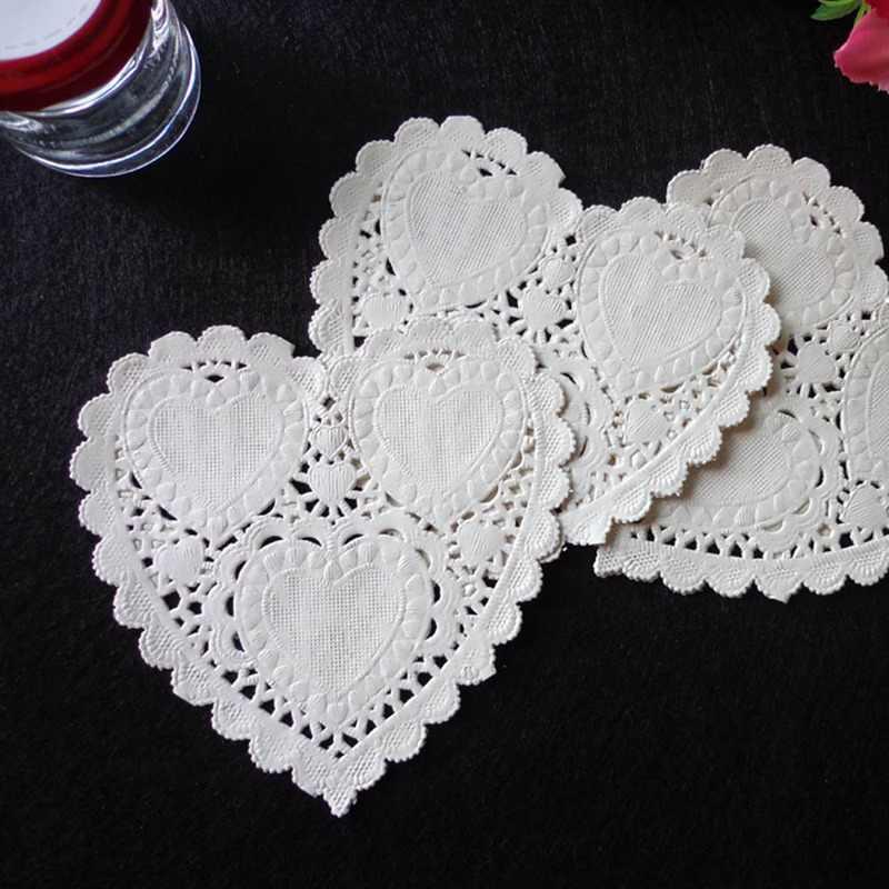 100 polegada 10 pçs/lote 4 centímetros Tapete De Papel da Forma Do Coração Do Bolo Do Partido Do Vintage Coasters Roteiro Artesanato Casamento Mesa Decoração de Natal