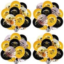15pcs/lot Happy Birthday Balloons 16 21 30 40 50 60th Birthday Black Gold Latex Ballon Birthday Anniversary Party Decor Supplies