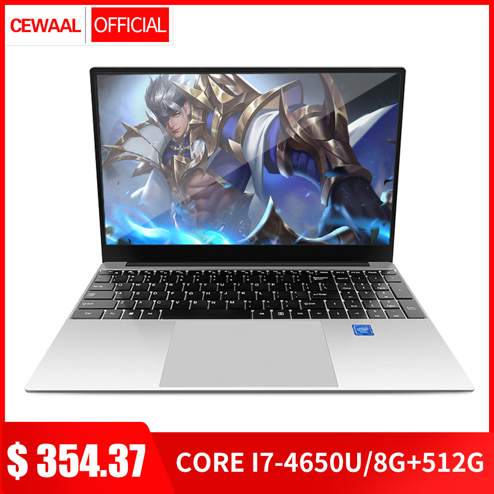15.6 Inch Intel Core I7 4650u Quad Core 8G DDR3 RAM 128G/256G/512G SSD Laptop Computer 2.4G/5G WiFI Windows 10 OS HDMI USB 3.0