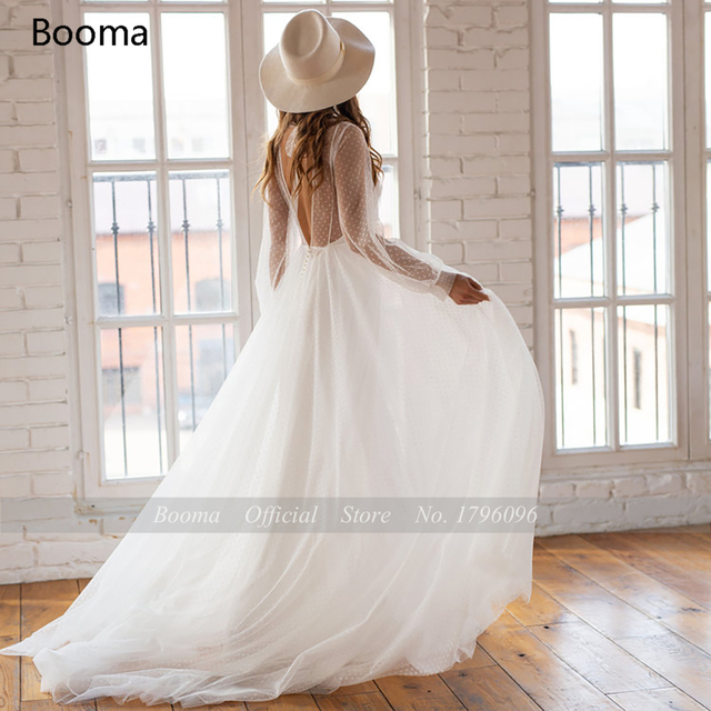 Booma Polka Dots Tulle Beach Wedding Dresses O-Neck Long Sleeves Sheer Neckline Bride Dresses Backless A-Line Bridal Gowns 2