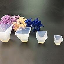 Diy el yapımı geometrik kurutulmuş çiçek reçine epoksi dekorasyon silikon kalıp Diy hediye arkadaş el yapımı piramit modeli araçları kalıpları