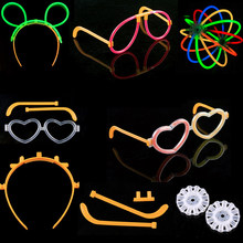 30 sets glow stick accessories connectors Headband glasses butterfly Bracelets Necklaces Neon Party Fluorescent Colors Xmas t7(China)