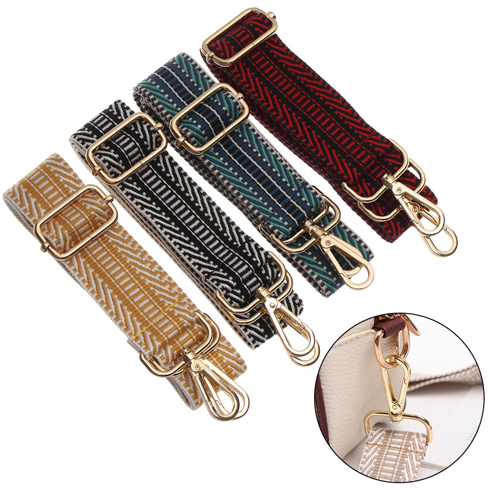 Women Colored Nylon Bags Belt Straps For Bags Rainbow Adjustable Shoulder Hanger Handbag Strap Decorative Chain Bag Accessories
