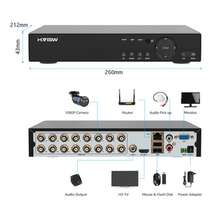 Image 4 - H.View 16CH Surveillance Systeem 16 1080P Outdoor Bewakingscamera 16CH Cctv Dvr Kit Video Surveillance Iphone Android Remote View
