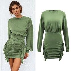 Ebay, Amazon желаю Лидер продаж Весна и новые летние продукты женщин с круглым вырезом топ с длинными рукавами, плиссированное платье с асимметри...
