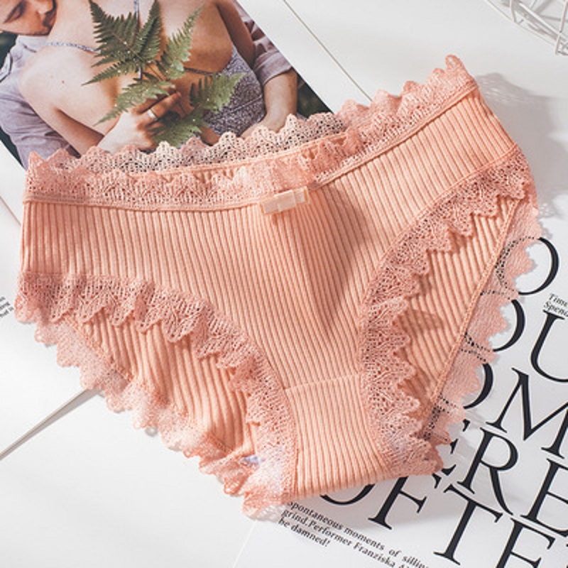 Women Thread Cotton Panties Bow Women's Underwear Solid Color Breathable Low Waist Girls Female Plus Size Lady Briefs 3