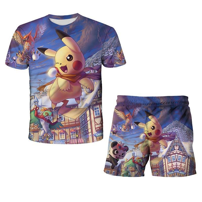 Pokemon 2 Pcs Clothing Sets Tshirts+Pants summer Boys Clothes Suits Children Shorts Short Sleeve Boy Girls fashion Beach Shorts