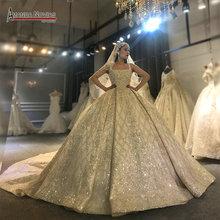 아만다 Novias 디자인 실제 작업 사진 웨딩 드레스 멋진 전체 구슬 장식 신부 드레스 2020