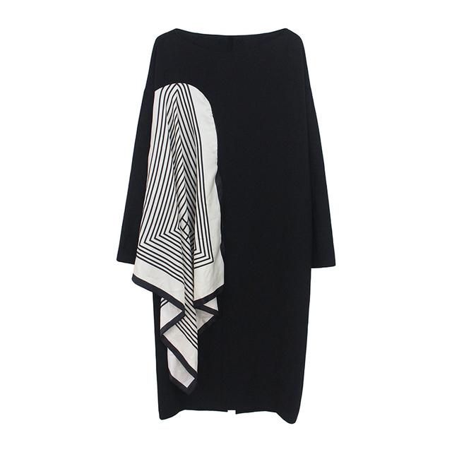 [EAM] Women Black Pattern Printed Stitch Big Size Dress New Round Neck Long Sleeve Loose Fit Fashion Spring Autumn2020 1W478