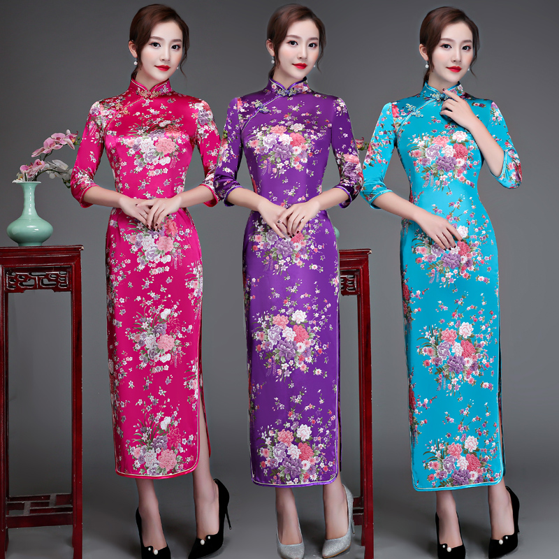cheongsam <font><b>dress</b></font> <font><b>Chinese</b></font> <font><b>dress</b></font> long <font><b>sexy</b></font> traditional silk rayon elegant evening wedding traditional <font><b>chinese</b></font> <font><b>dress</b></font> Cheongsam image