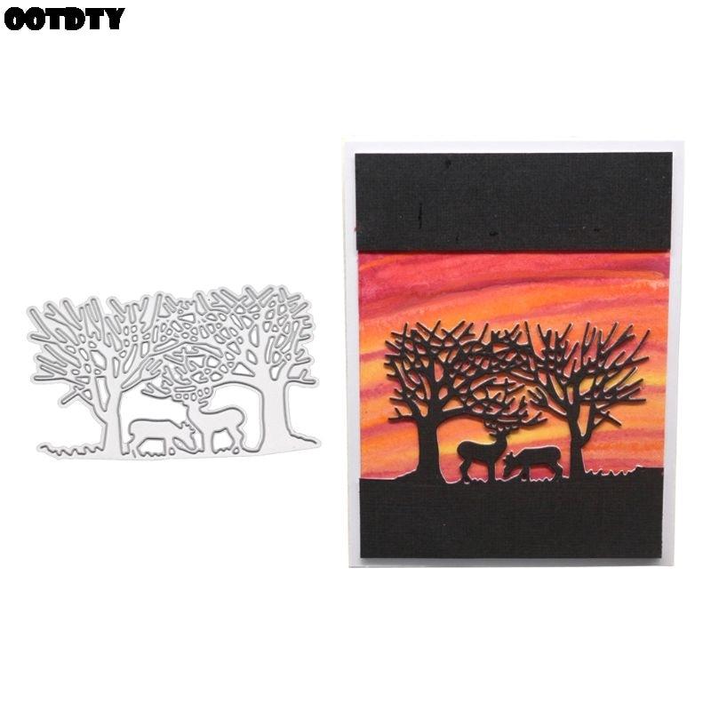 Forest Deer Metal Cutting Dies Stencil DIY Scrapbooking Album Paper Card Craft