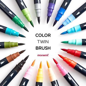 Image 1 - Monami Color Twin Brush Watercolor Brush Pen Double Head Art Markers Sketching Painting Brush Lettering 04038