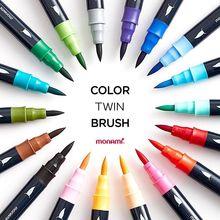 Monami สี Twin แปรงสีน้ำปากกาแปรง Double Head Art Markers Sketching ภาพวาดแปรงตัวอักษร 04038