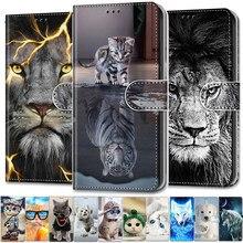 Fajne zwierzęta etui do Samsung A51 klapki skórzane etui na Galaxy A01 rdzeń A02 A21 A31 A41 A71 A11 portfel pokrywa lew niedźwiedź wilk