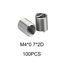 100pcs M4*0.7*2D Silver Thread Repair Insert Kit Set 304 Stainless Steel For Hardware Repair Tools