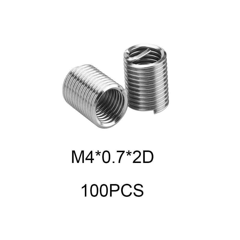100pcs Thread Repair Kit M4*0.7*2D Threaded Insert Set 304 Stainless Steel For Hardware Repair Tools Rosca Helicoil Restoration