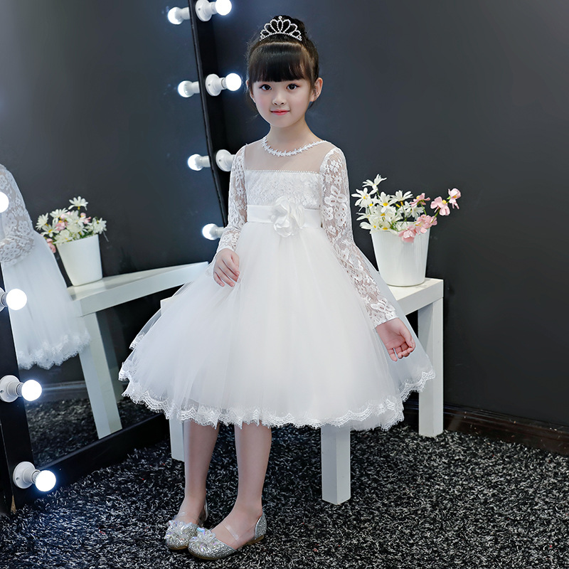 2019 New Style Children Gauze Princess Dress Spring And Autumn Girls Wedding Dress Puffy Lace Dress Small CHILDREN'S Evening Gow