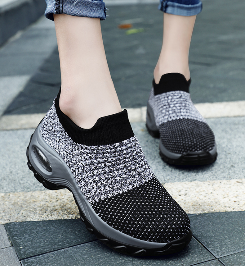 Platform Sneakers Shoes Women Casual Knitted Vulcanize Shoes Breathable Air Mesh Sock Shoes Walking Shoes Zapatos De Mujer