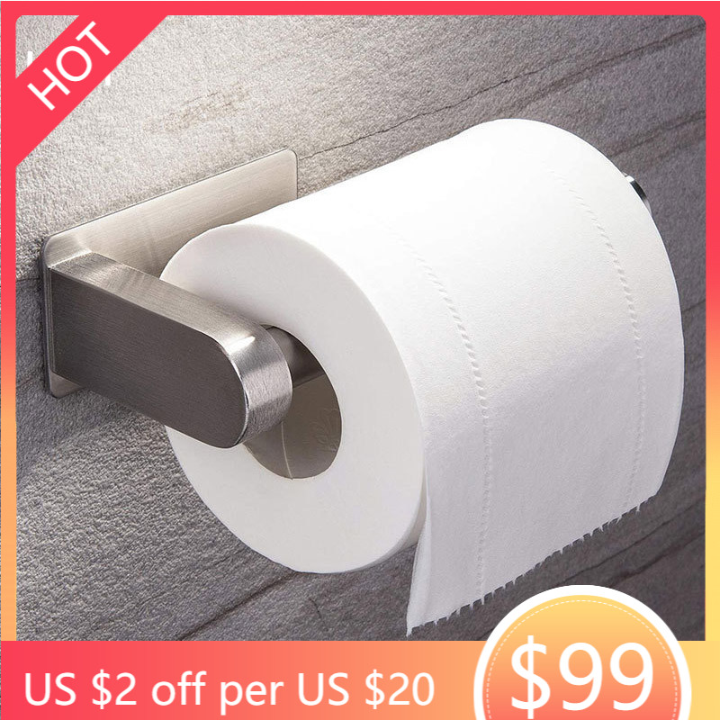 Stainless Steel Wall Toilet Paper Roll Holder Black Silver Self Adhesive Toilet Paper Holder for Bathroom Stick Wall Towel Rack