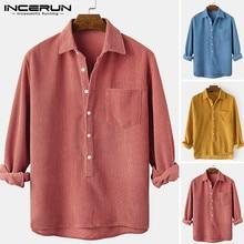 2021 Men Casual Corduroy Shirt Long Sleeve Button Solid Color Lapel Vintage Leisure Shirts Men Streetwear Camisas S-3XL INCERUN