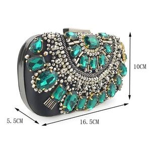 Image 2 - Green Clutch Purse Womens Wedding Bag Crystal Evening Clutch Bags Rhinestone Beaded Party Handbags Bridal Purse ZD1370