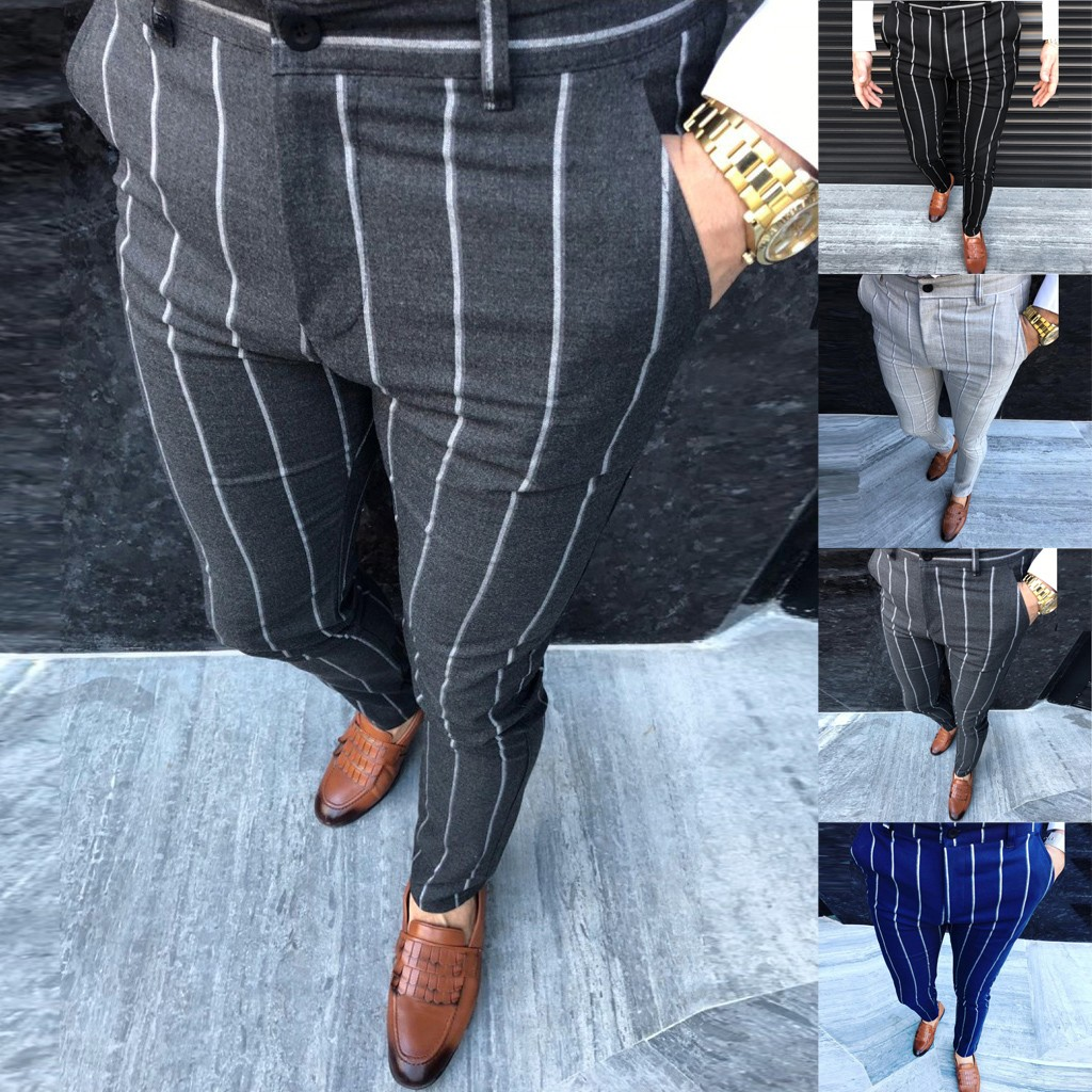 Four Seasons Fashion Men Casual Business Slim Fit Striped Print Zipper Business Long Pants Trousers M0910