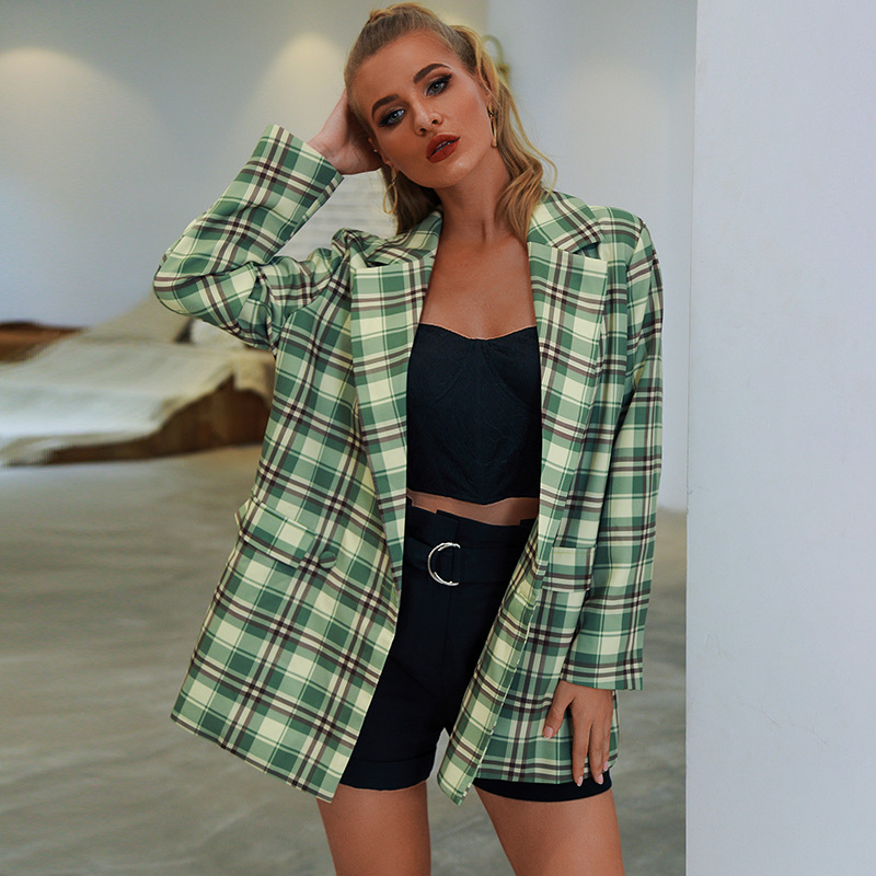 Casual Plaid Long Blazer Coat Women Jacket 2020 Autumn Sexy Loose Double Breasted blazer Female Vintage Oversized Suit Coat