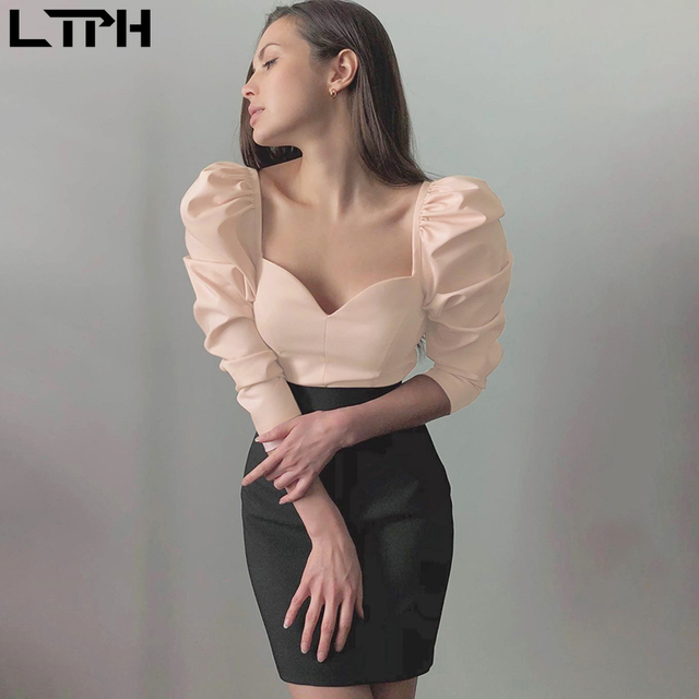 Solid color vintage new women shirts puff sleeve square small V-neck Slim blouse 4