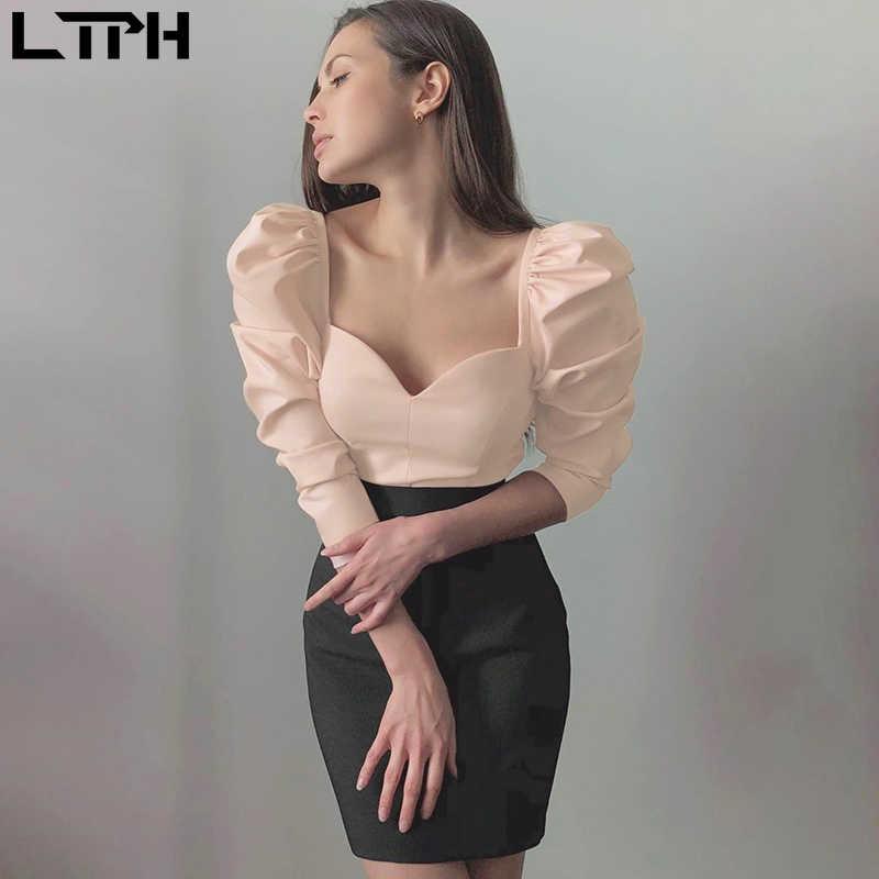 הצעה מיוחדת מכירה לוהטת Korean2019 סתיו מוצק צבע בציר חדש נשים חולצות פאף שרוול כיכר סקסי קטן V-צוואר Slim חולצה