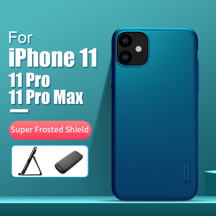 Para o iphone 11 caso capa 6.1 nillkin fosco pc fosco duro de volta capa presente titular do telefone para o iphone 11 pro para o iphone 11 pro max