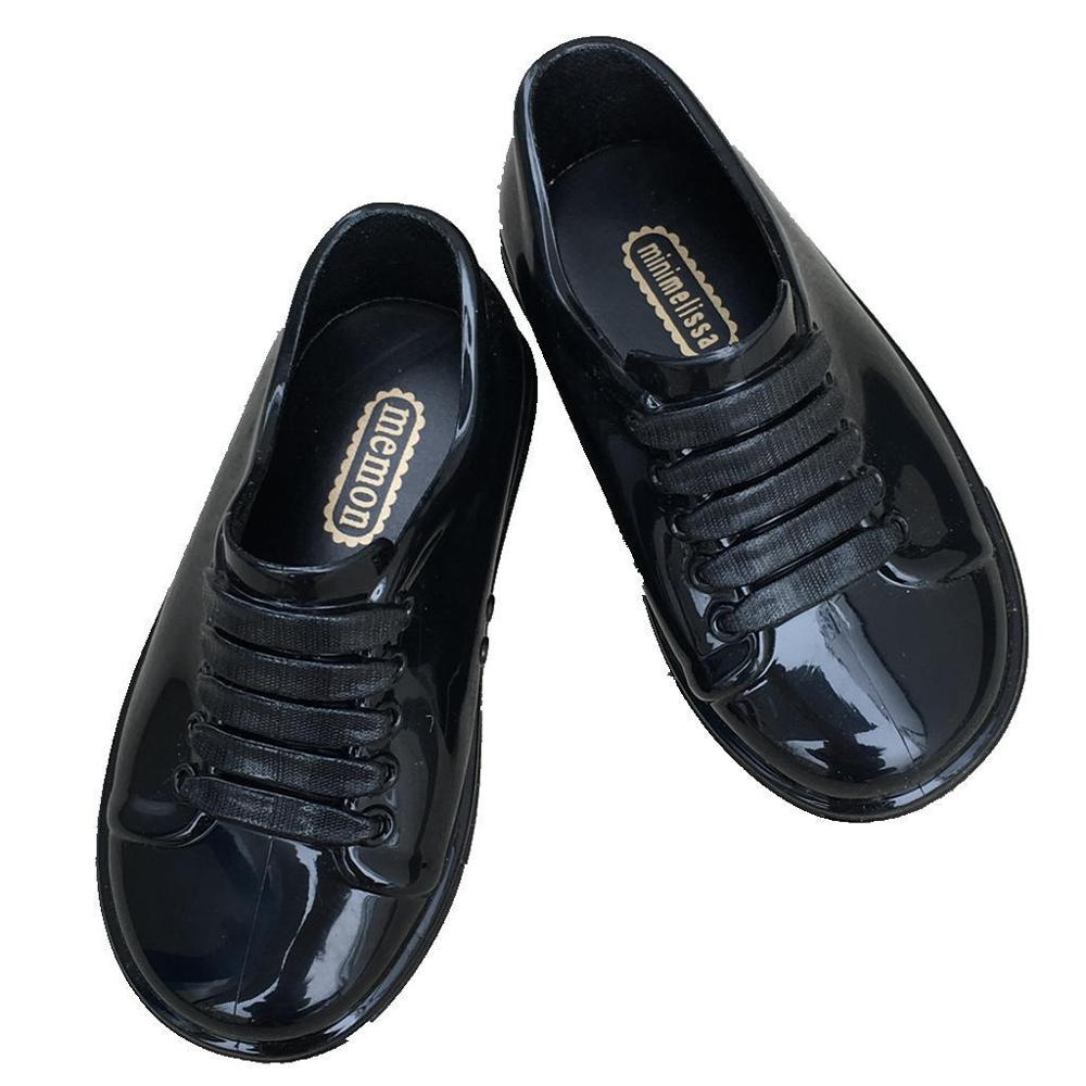 New Spring Boy Girls Jelly Shoes Children's Patent PVC Waterproof Shoes Little Princess Shoes Student Lace Shoes MN009
