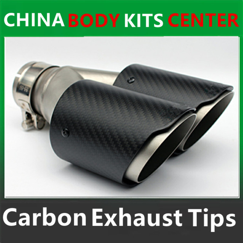 Dubbel kolfiber + rostfritt stål bränt universalbil avgasspets dubbla ändrör för BMW BENZ VW Golf AK-logotyp