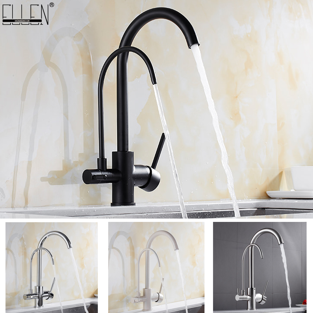 Kitchen Faucets Solid Brass Crane For Kitchen Purified Water Filter Tap Three Ways Sink Mixer 3 Way Kitchen Faucet ELM134