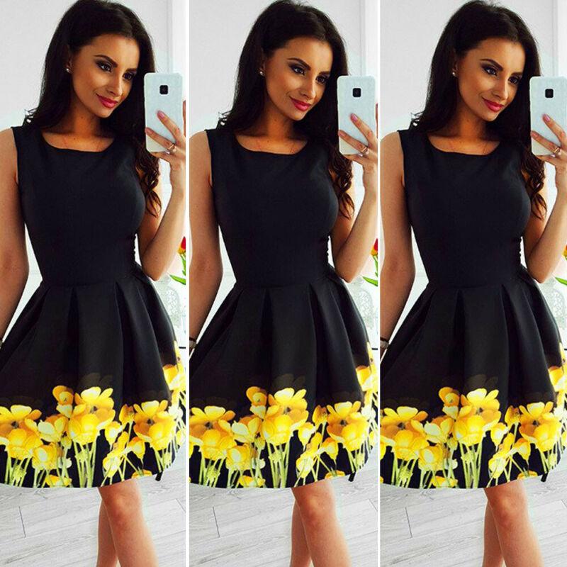 Goocheer 2019 Womens Summer Casual Beach Strappy Dress Boho Floral Sundress Holiday